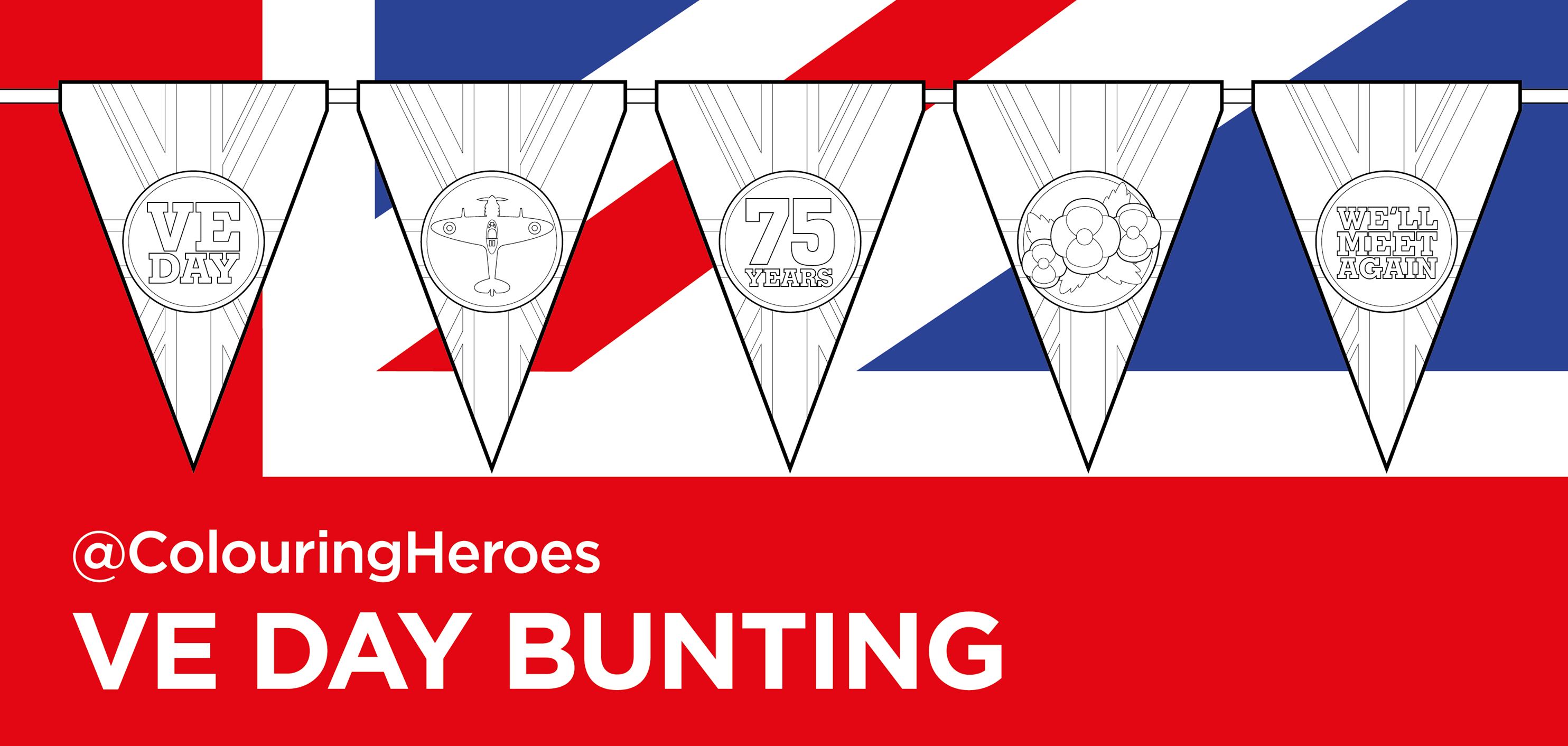 VE day bunting colouring printouts