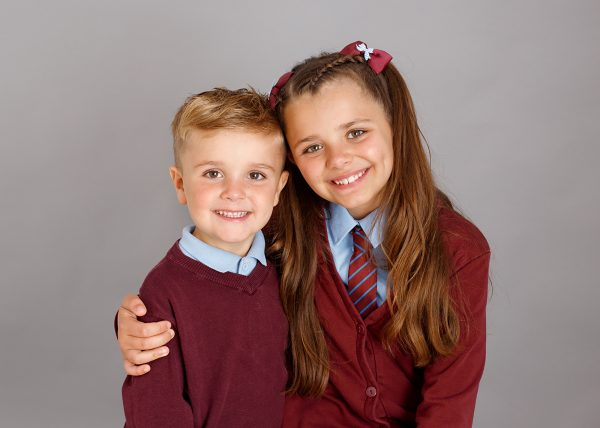 brother and sister school photograph by photographer in Kent