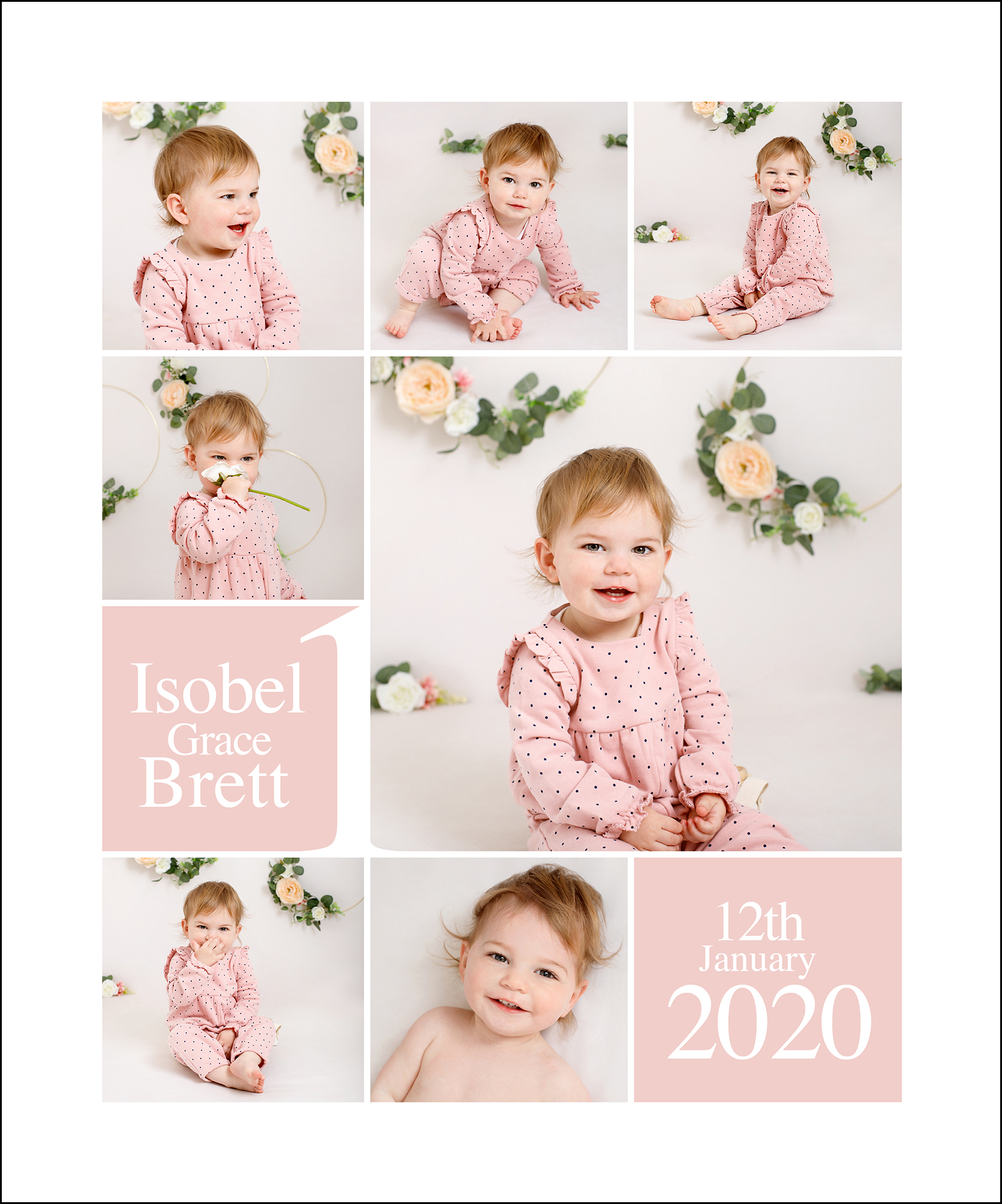collection of images from girls first birthday photoshoot in Kent